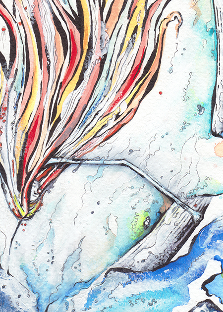 Flow girl watercolour detail