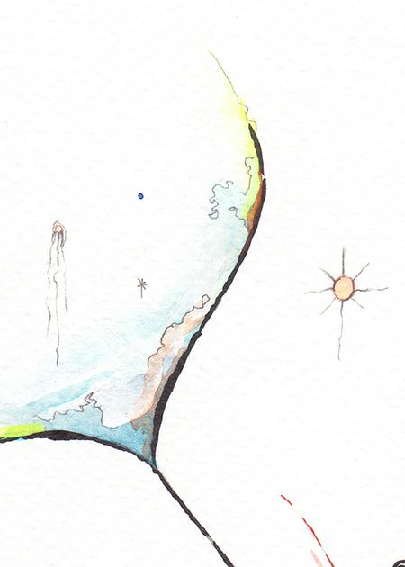 Flow tail watercolour detail
